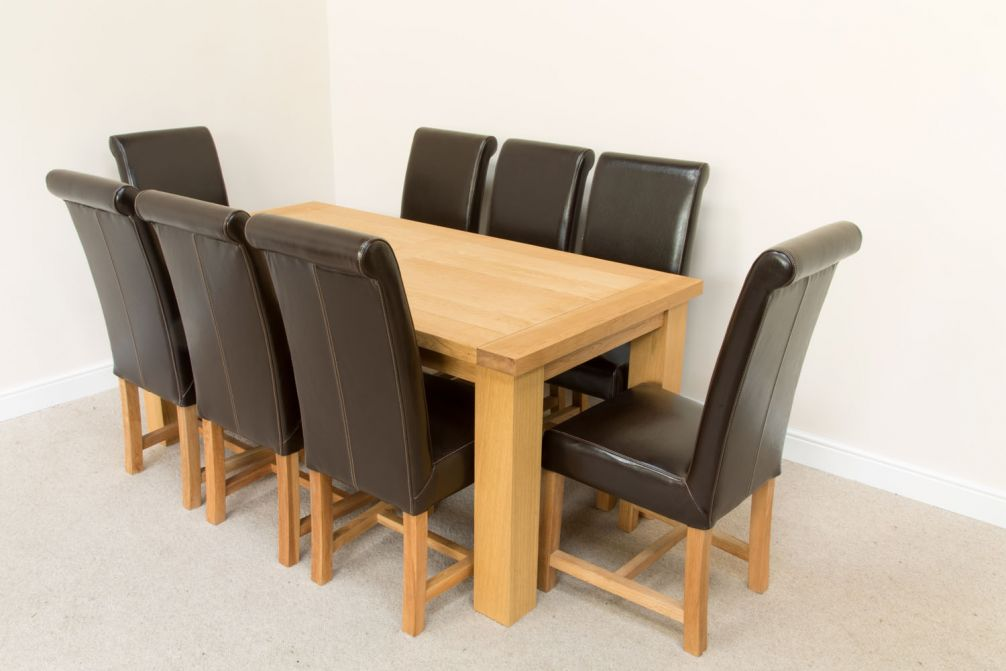 1 8m Riga Oak Dining Table 8 Titan Premium Brown Leather Dining Chairs