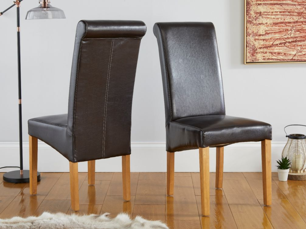 Tuscan Dark Brown Leather Scroll Back Dining Chair