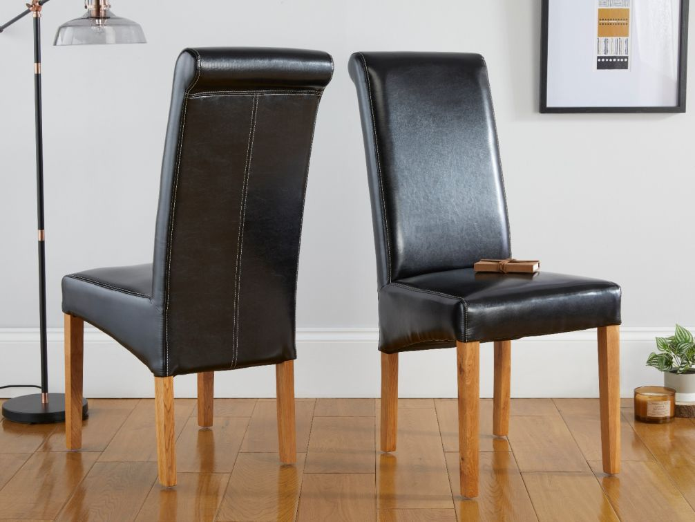 Tuscan Black Leather Scroll Back Dining Room Chair