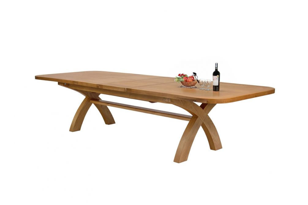 Large 12 14 Seater Oak Dining Table Double Extending Free Delivery Top Furniture