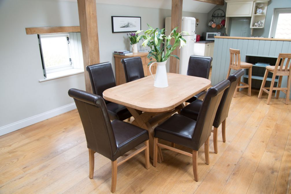 6 Seater Oak Dining Table Leather Chair Set From Top Furniture