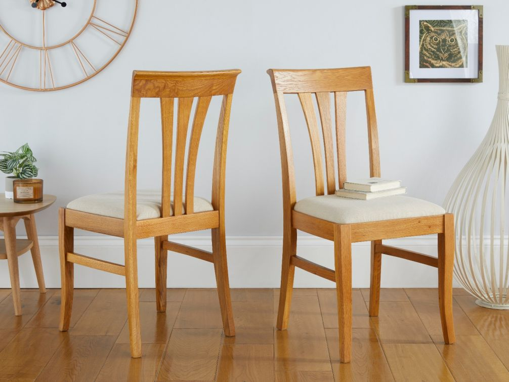 Victoria Solid Oak Dining Chair with Beige Linen Fabric pads
