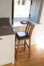 Billy Solid Oak Brown Leather Bar Stool