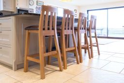 Billy Solid Oak Brown Leather Tall Bar Stool