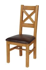 Windermere Cross Back Oak Chair With Brown Leather Seat
