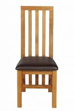Dorchester Slatted Back Oak Dining Chair Brown Leather Pad