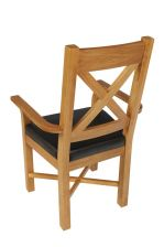 Grasmere Oak Carver Dining Chair With Brown Leather Seat