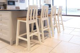 Billy Cream Painted Bar Stool With Solid Oak Seat