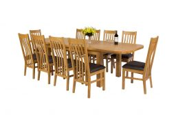 Country Oak 280cm Double Butterfly Extending Standard Leg Table With Oval Ends