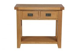 Country Oak 2 Drawer Console Table