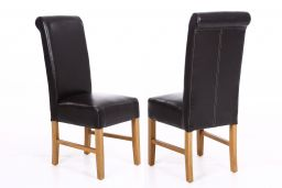 Emperor Dark Brown Leather Scroll Back Dining Chairs