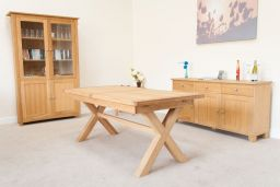 Provence 1.8m to 2.3m Cross Leg Butterfly Oak  Table Sq End