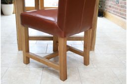 Titan Premium Scroll Back Antique Brown Full Leather Solid Oak Leg Dining Chair