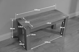Baltic 150cm Solid Oak Corner Leg Wooden Bench