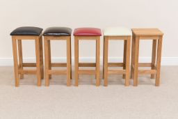 Baltic Solid Oak Bar Stool With Dark Brown Leather Pad
