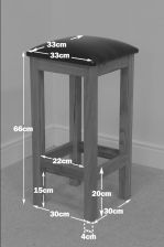 Baltic Solid Oak Brown Leather Wooden Kitchen Stool