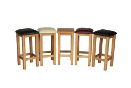 Baltic Solid Oak Kitchen Bar Stool Black Leather