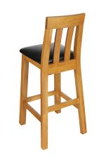 Billy Tall Oak Bar Stool Black Leather