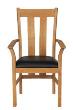 Churchill Black Leather Oak Carver Dining Chair