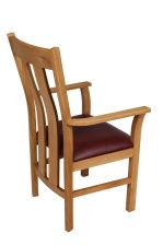 Churchill Red Leather Oak Carver Dining Chair