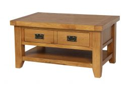 Country Oak Coffee Table with Drawer & Shelf