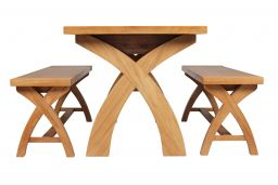 oak table and bench set