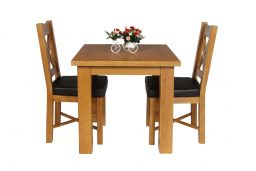 Country Oak 80cm Oak Table & 2 Grasmere Brown Leather Chair Set