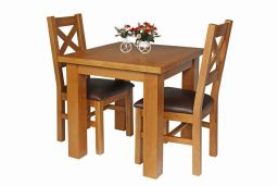 Country Oak 80cm Oak Table & 2 Windermere Brown Leather Chair Set