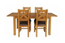 Country Oak 180cm Extending Oak Table & 4 Windermere Brown Leather Seat Chair Se