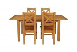 Country Oak 180cm Extending Oak Table & 4 Windermere Timber Seat Chair Set