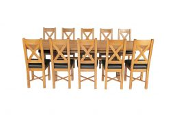 Country Oak 280cm Extending Cross Leg Oval Table & 10 Grasmere Brown Leather Cha