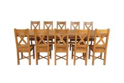 Country Oak 280cm Extending Cross Leg Oval Table & 10 Grasmere Timber Seat Chair