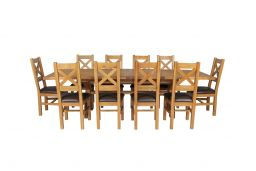 Country Oak 280cm Extending Cross Leg Square Table & 10 Windermere Brown Leather