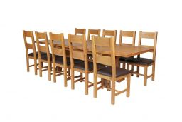 Country Oak 280cm Extending Cross Leg Square Table & 10 Chester Brown Leather Ch