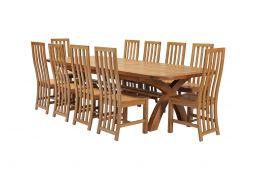 Country Oak 340cm Extending Cross Leg Oval Table & 10 Dorchester Timber Seat Cha
