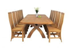 Country Oak 340cm Extending Cross Leg Oval Table & 12 Dorchester Timber Seat Cha