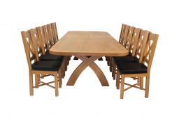 Country Oak 340cm Extending Cross Leg Oval Table & 12 Grasmere Brown Leather Cha