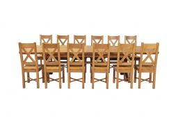 Country Oak 340cm Extending Cross Leg Oval Table & 12 Grasmere Timber Seat Chair