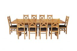 Country Oak 340cm Extending Cross Leg Oval Table & 10 Windermere Brown Leather C