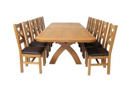 Country Oak 340cm Extending Cross Leg Oval Table & 12 Windermere Brown Leather C