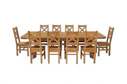Country Oak 340cm Extending Cross Leg Oval Table & 10 Windermere Timber Seat Cha