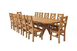 Country Oak 340cm Extending Cross Leg Oval Table & 12 Windermere Timber Seat Cha