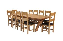 Country Oak 340cm Extending Cross Leg Oval Table & 10 Chester Brown Leather Chai