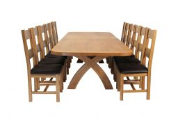 Country Oak 340cm Extending Cross Leg Oval Table & 12 Chester Brown Leather Chai