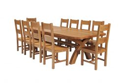 Country Oak 340cm Extending Cross Leg Oval Table & 10 Chester Timber Seat Chairs