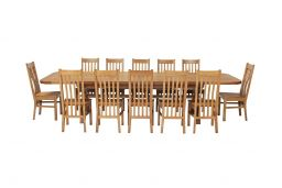 Country Oak 340cm Extending Cross Leg Oval Table & 12 Chelsea Timber Seat Chairs