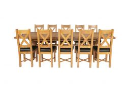 Country Oak 340cm Extending Cross Leg Square Table & 10 Grasmere Brown Leather C
