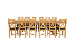 Country Oak 340cm Extending Cross Leg Square Table & 12 Grasmere Brown Leather C