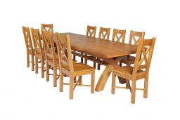 Country Oak 340cm Extending Cross Leg Square Table & 10 Grasmere Timber Seat Cha