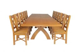 Country Oak 340cm Extending Cross Leg Square Table & 12 Grasmere Timber Seat Cha